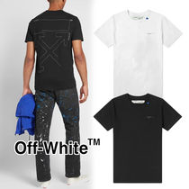 Off-White Crew Neck Pullovers Street Style Cotton Short Sleeves