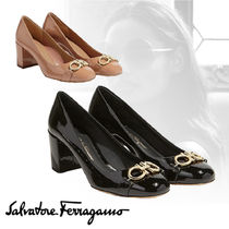 Salvatore Ferragamo Round Toe Plain Leather Elegant Style Chunky Heels
