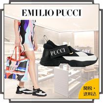 Emilio Pucci Round Toe Rubber Sole Casual Style Blended Fabrics Bi-color