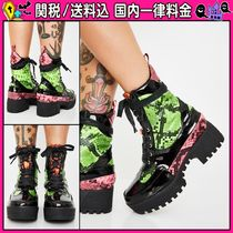 DOLLS KILL Platform Round Toe Lace-up Casual Style Python Lace-up Boots