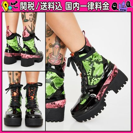 Platform Round Toe Lace-up Casual Style Python Lace-up Boots