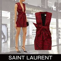 Saint Laurent Short Zebra Patterns Tight Sleeveless V-Neck Dresses