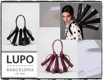 Lupo Barcelona Blended Fabrics Tassel Leather Crystal Clear Bags