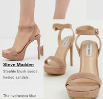 Steve Madden Open Toe Casual Style Suede Plain Pin Heels Heeled Sandals