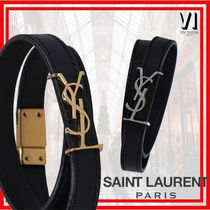 Saint Laurent OPYUM Leather Formal Style  Logo Belts