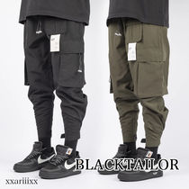 BLACKTAILOR Blended Fabrics Street Style Plain Cargo Pants
