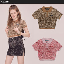 SCULPTOR Leopard Patterns Casual Style Polo Shirts
