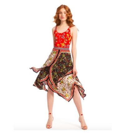 Flared Skirts Flower Patterns Nylon Long Party Style