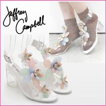 Jeffrey Campbell Flower Patterns Open Toe Casual Style Blended Fabrics
