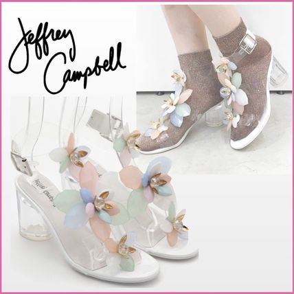 Flower Patterns Open Toe Casual Style Blended Fabrics