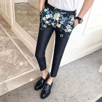 Flower Patterns Unisex Silk Home Party Ideas Cropped Pants