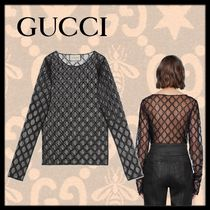 GUCCI Lace-up Long Sleeves Lace Elegant Style Tops
