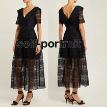 SELF PORTRAIT Flared V-Neck Medium Short Sleeves Midi Lace Elegant Style
