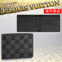Louis Vuitton DAMIER INFINI Other Check Patterns Blended Fabrics Leather Folding Wallets