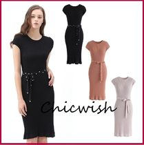 Chicwish Casual Style Tight U-Neck Plain Medium With Jewels Dresses