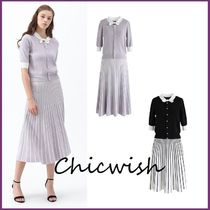 Chicwish Stripes Casual Style Flared U-Neck Bi-color Medium