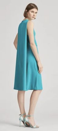 Sleeveless Flared Plain Medium Dresses
