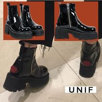 UNIF Clothing Casual Style Block Heels Boots Boots
