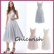 Chicwish Sleeveless Plain Medium Party Style Midi With Jewels