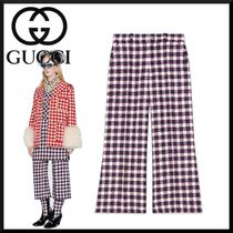 GUCCI Gingham Wool Blended Fabrics Medium Elegant Style