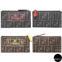 FENDI Monogram Unisex Street Style Card Holders