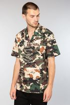 ELWOOD Button-down Camouflage Street Style Short Sleeves Shirts