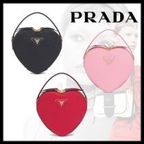PRADA Heart 2WAY Leather Elegant Style Shoulder Bags