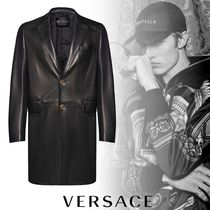 VERSACE Street Style Plain Leather Long Chester Coats