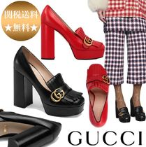 GUCCI Round Toe Plain Office Style Chunky Heels