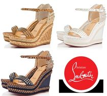 Christian Louboutin Madmonica Open Toe Studded Plain Leather Elegant Style Glitter