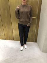 Jil Sander Crew Neck Cable Knit Wool Long Sleeves Plain Knitwear