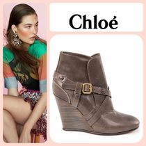 Chloe Plain Toe Blended Fabrics Plain Leather Elegant Style