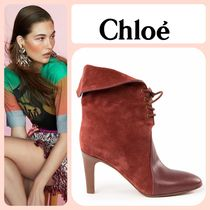 Chloe Plain Toe Plain Leather Elegant Style Ankle & Booties Boots