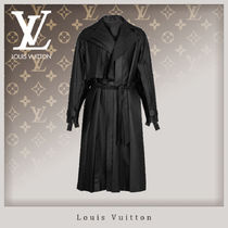 Louis Vuitton Street Style Plain Leather Long Trench Coats