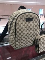 GUCCI Canvas Street Style Logo Backpacks