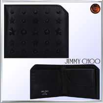 Jimmy Choo Star Calfskin Studded Folding Wallets