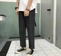 Other Check Patterns Street Style Cotton Cropped Pants
