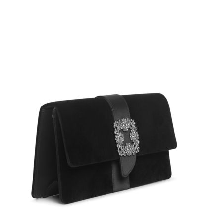 Suede Blended Fabrics Plain Party Style With Jewels Clutches
