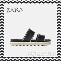 ZARA Platform Round Toe Studded Platform & Wedge Sandals