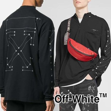 Off-White Long Sleeve Pullovers Street Style Long Sleeves Cotton Oversized