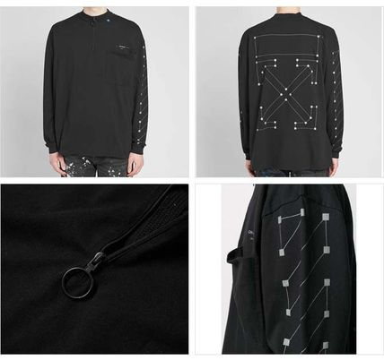 Off-White Long Sleeve Pullovers Street Style Long Sleeves Cotton Oversized 2
