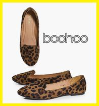 boohoo Leopard Patterns Casual Style Suede Plain Slippers Flats