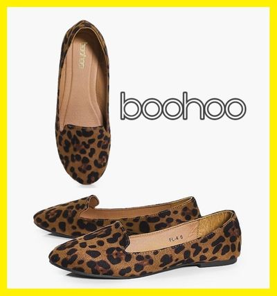 Leopard Patterns Casual Style Suede Plain Slippers Flats