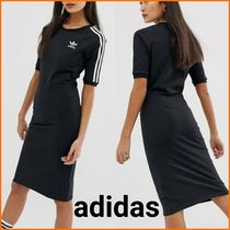 adidas Crew Neck Casual Style Tight Street Style Plain Medium