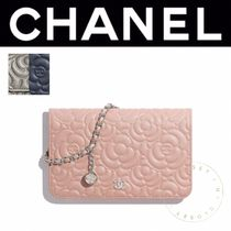 CHANEL CHAIN WALLET Flower Patterns Blended Fabrics 2WAY Chain Leather Handmade