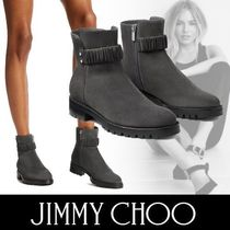 Jimmy Choo Round Toe Casual Style Suede Studded Plain