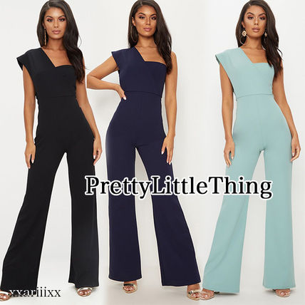Dungarees Casual Style Blended Fabrics Plain Long Dresses
