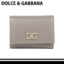 Dolce & Gabbana Calfskin Plain Khaki Folding Wallets