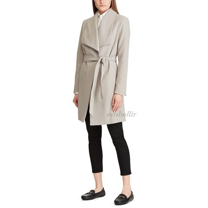 Ralph Lauren Plain Long Elegant Style Wrap Coats