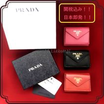 PRADA Unisex Street Style Plain Leather Folding Wallets